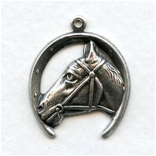 Horse and Horseshoe Pendant Oxidized Silver (4)