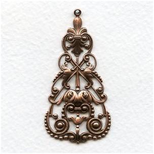 Fabulous Filigree Drops 56mm Oxidized Copper (2)