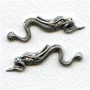 Chinese Dragons 39mm Oxidized Silver (1 Set)
