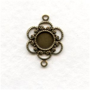 Filigree Connector 5mm Settings Oxidized Brass (12)