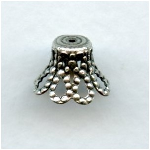 Bell Shape Filigree 12mm Bead Caps Oxidized Silver (12)