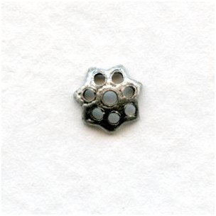 Filigree Petal Shape Bead Caps 6mm Oxidized Silver (50)