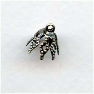 Filigree Bell Caps Up Eye Loops Oxidized Silver (24)