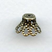 Bell Shape Filigree 12mm Bead Caps Oxidized Brass (12)