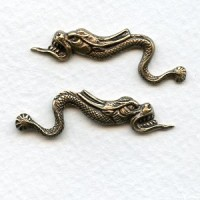 Chinese Dragons 39mm Oxidized Brass (1 Set)