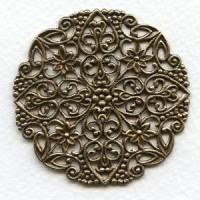 Ornate Round Flat Filigree Oxidized Brass 51mm (1)