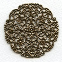 *Ornate Round Flat Filigree Oxidized Brass 51mm (1)