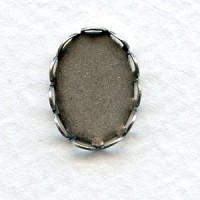 Lace Edge Settings 14x10mm Oxidized Silver (12)