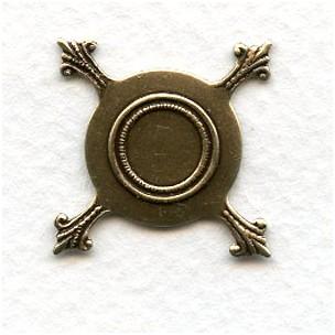 Flat Turtle Setting 16mm Base Oxidized Brass (12)