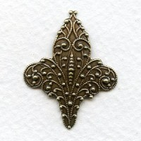 Fleur-de-Lis Stampings Oxidized Brass 33mm (6)