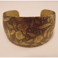 Embossed Oxidized Brass Domed Tapered Cuff 36mm (1)