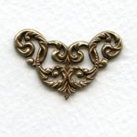 Feminine Filigree Corners Oxidized Brass (4)