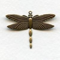 Dragonflies Upturned Wings 28x36mm Oxidized Brass (6)