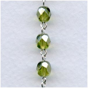 ^Olive Luster 6mm Faceted Beads Rosary Chain Silver Linkage (1 ft)