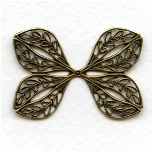 Ornate Filigree Flat Wings Oxidized Brass 38mm (1)
