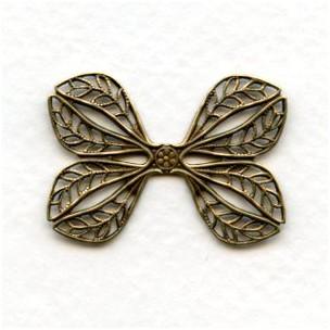 Ornate Flat Filigree Wings Oxidized Brass 31mm (3)