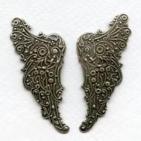 Huge Embossed Angel Wings 54mm Oxidized Silver
