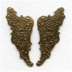 Huge Embossed Angel Wings 54mm Oxidized Brass (1 pair)