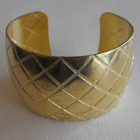 Quilted Texture Wide Cuff Raw Brass