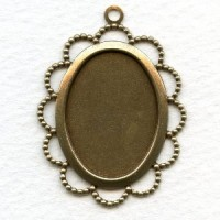 Oxidized Brass Filigree 25x18mm Setting Pendant (6)