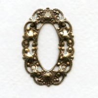 Smaller Filigree Oval 37x25mm Frames Oxidized Brass (6)