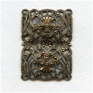 Splendid Filigree Rectangle German Made Oxidized Brass (1)
