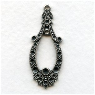 Exceptional Pendant Rhinestone Settings Oxidized Silver (1)