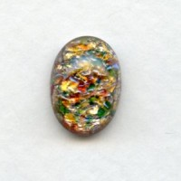 Multi-Color Red Glass Opal Cabochon 14x10mm (1)