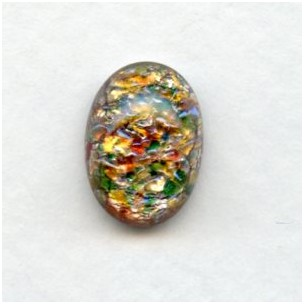 Multi Color Red Glass Opal Cabochon 14x10mm