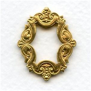 Ornate Framework Stampings Raw Brass 29x24mm (3)