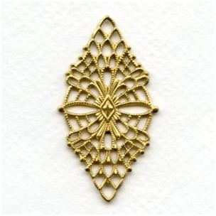 Fine Detail Diamond Shaped Filigree Raw Brass (1)