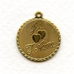 Je T'Aime French Charms Raw Brass Pendants (3)
