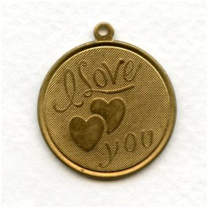 I Love You Charms Raw Brass 29mm (3)