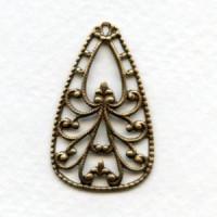 Ornate Filigree Pendant Oxidized Brass 34mm (6)