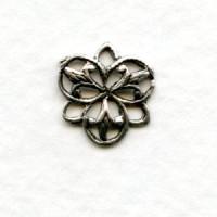 Small Three Petal Connector Filigree Oxidized Silver 11mm (12)