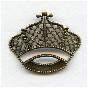 Filigree Crown Stampings Oxidized Brass 43x37mm (3)