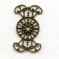 Filigree Connector or Wrap Setting Oxidized Brass (6)