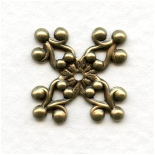 Ornate Prongs Stamping Oxidized Brass 17mm (6)