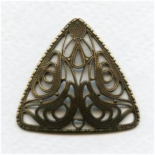 ^Domed Filigree Triangle Oxidized Brass 38mm