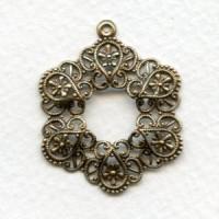 European Filigree Hoop Pendant 34mm Oxidized Brass