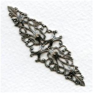 Elegant Ripple Filigree Stamping Oxidized Silver (1)
