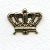 Crown Ornamentation Stampings Oxidized Brass 12mm (12)