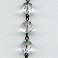 ^Crystal Round 8mm Bead Jet Linkage Rosary Chain (1 foot)