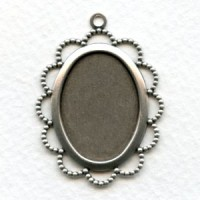 Filigree 25x18mm Setting With Loop Oxidized Silver (6)