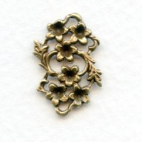 Floral Connector to Set Stones Into Oxidized Brass (6)