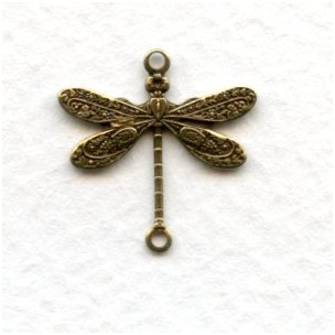 Victorian Style Dragonfly Connectors Oxidized Brass (12)