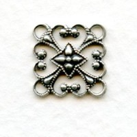 Square 12mm Filigree Connector Oxidized Silver (12)