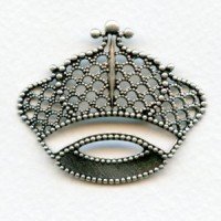 Filigree Crown Stampings Oxidized Silver 43mm (3)