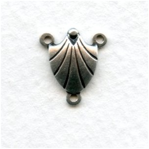 Connectors 3-Way Shell 10mm Oxidized Silver (12)