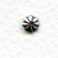 Fluted Bead Caps 5mm Oxidized Silver (50)